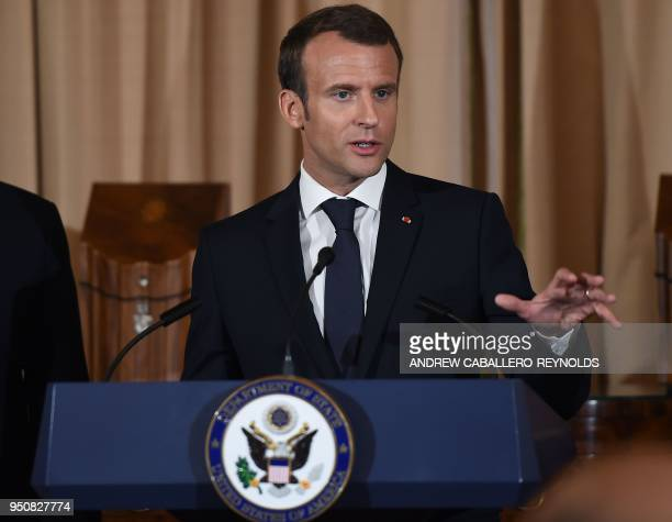 French President Emmanuel Macron speaks during a luncheon at the US State Department in Washington DC on April 24 2018