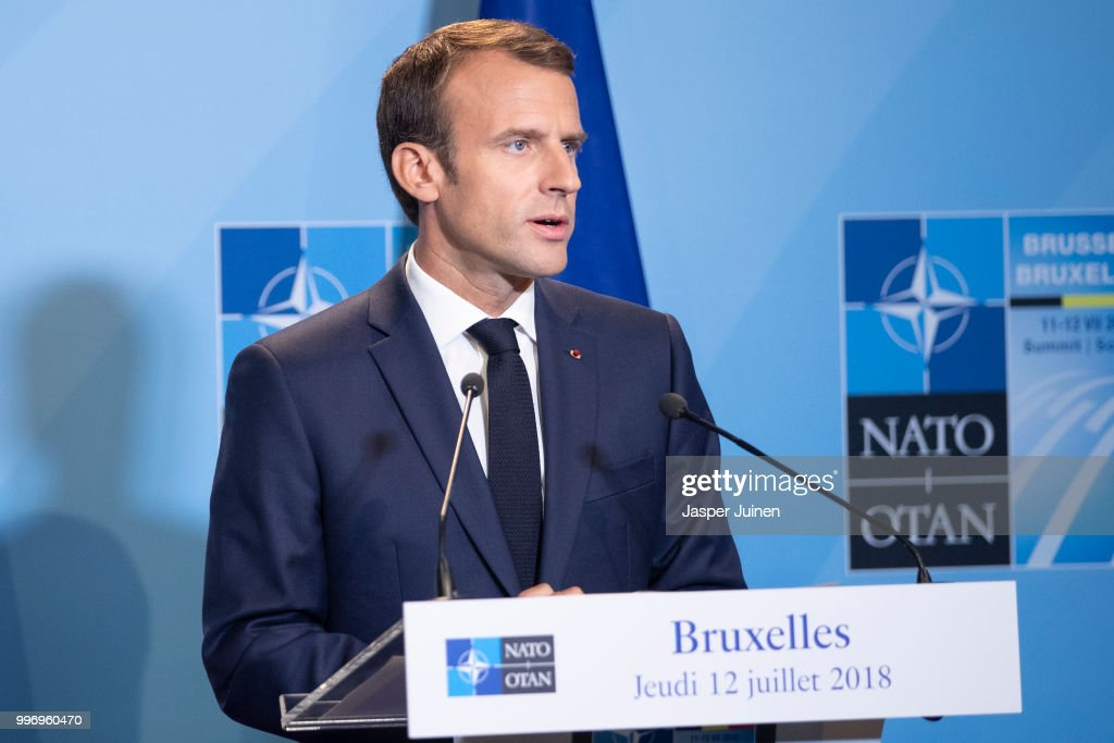 French President Emmanuel Macron speaks during a news conference at the 2018 NATO Summit at NATO headquarters on July 12, 2018 in Brussels, Belgium. Leaders from NATO member and partner states are meeting for a two-day summit, which is being overshadowed by strong demands by U.S. President Trump for most NATO member countries to spend more on defense.