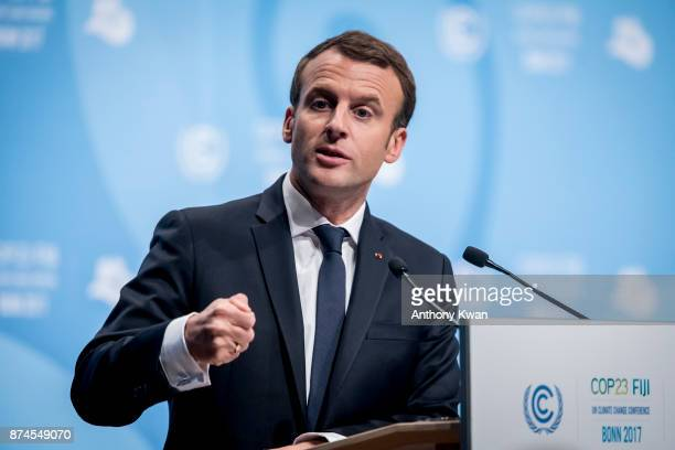 French President Emmanuel Macron speaks during the COP 23 United Nations Climate Change Conference on November 15 2017 in Bonn Germany The conference...