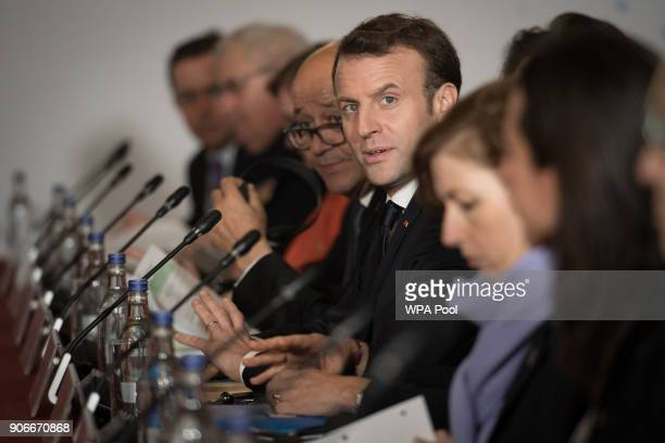 French President Emmanuel Macron speaks during UKFrance summit talks at the Royal Military Academy Sandhurst on January 18 2018 in Camberley England...