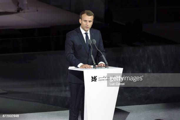 French President Emmanuel Macron speaks on stage during The Louvre Abu Dhabi Museum Opening on November 8 2017 in Abu Dhabi United Arab Emirates