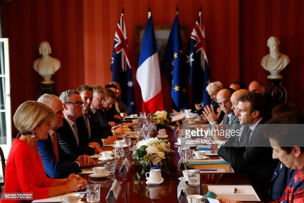 French president Emmanuel Macron speaks to Australian Prime Minister Malcolm Turnbull on May 2 2018 in Sydney Australia President Macron is on a...