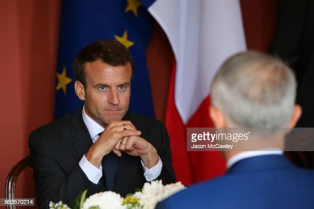 French president Emmanuel Macron speaks with Australian Prime Minister Malcolm Turnbull on May 2 2018 in Sydney Australia President Macron is on a...