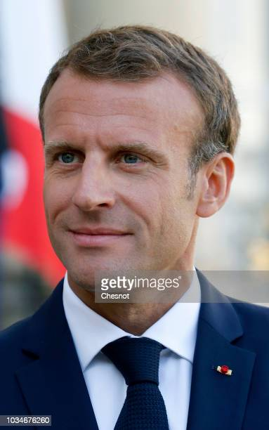 French President Emmanuel Macron waits prior to a meeting with Austrian Chancellor Sebastian Kurz at the Elysee Presidential Palace on September 17...