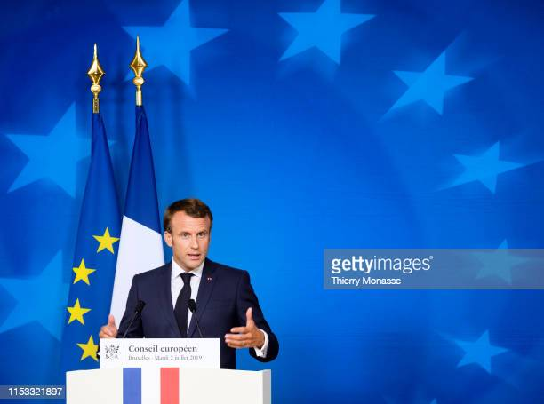 French President Emmanuel Macron talks to media at the end of the third day of an EU summit at the Europa building in Brussels, on July 2, 2019....