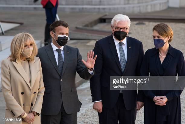 French President Emmanuel Macron together with his wife Breigitte Macron welcome the German Head of State, Frank-Walter Steinmeier, in the company of...