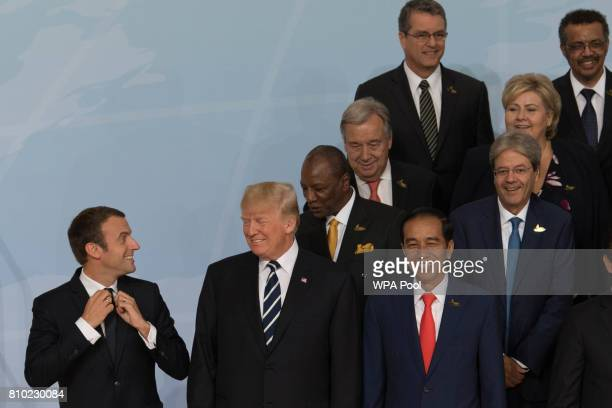 French President Emmanuel Macron US President Donald Trump Indonesian president Joko Widodo and Mexican president Enrique Pena Nieto and Guinean...