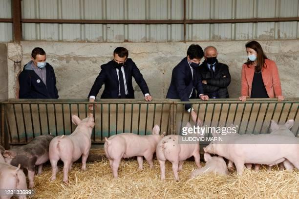 "French President Emmanuel Macron visit ""La Ferme d'Etaules"" farm with French Agriculture Minister Julien Denormandie and local Senator Francois..."