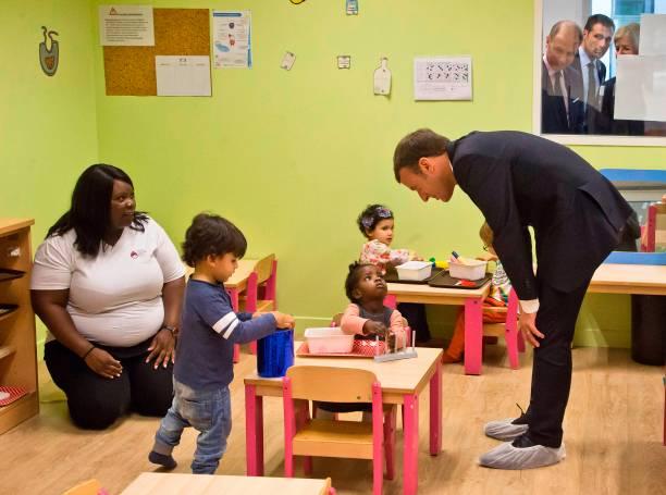 Topshot French President Emmanuel Macron R Visits A Nursery North S School Thenurseries