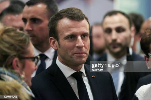 French President Emmanuel Macron visits the 56th International Agriculture Fair at the Porte de Versailles exhibition center in Paris on February 23...