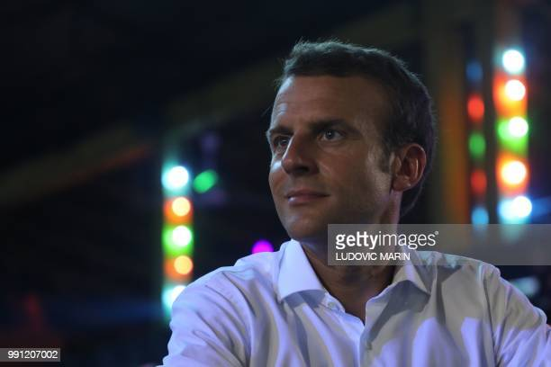 French President Emmanuel Macron visits the Afrika Shrine in Lagos on July 3 2018 French President Emmanuel Macron has arrived in Abuja for a meeting...