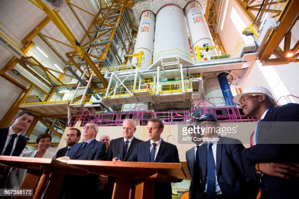French President Emmanuel Macron visits the Guiana Space Centre in Kourou on October 27 2017 as part of a threeday visit in French Guiana / AFP PHOTO...
