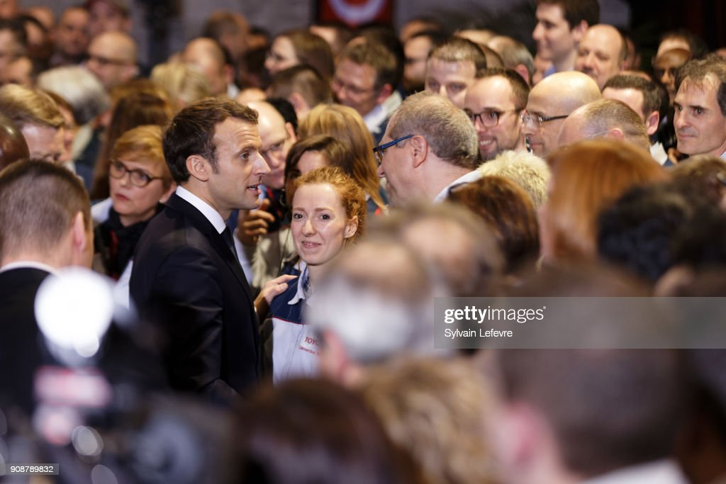 French President Emmanuel Macron Visits Toyota Factory