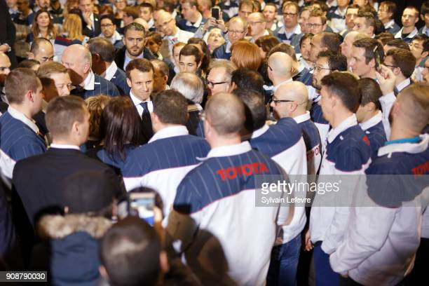 French President Emmanuel Macron visits Toyota's automobile manufacturing plant in ValenciennesOnnaing on January 22 2018 in Valenciennes France
