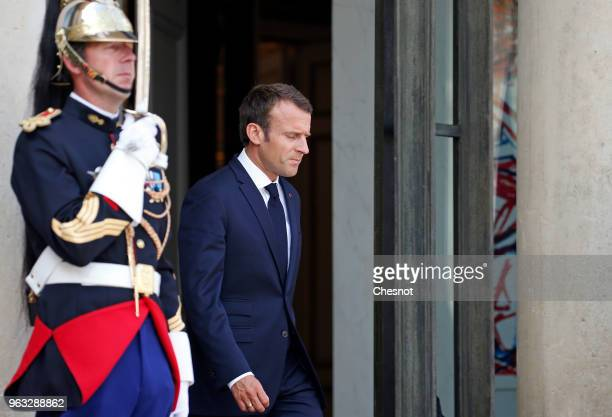 French President Emmanuel Macron waits for Angola's President Joao Lourenco prior to their meeting at the Elysee Presidential Palace on May 28 in...