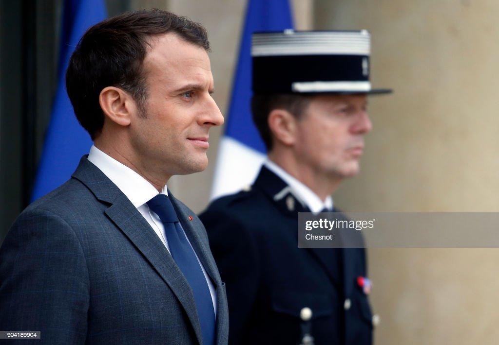 French President Emmanuel Macron Receives Sebastian Kurz, Austria's Chancellor At ELysee Palace In Paris : News Photo