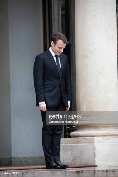 French President Emmanuel Macron waits for his guests, the leaders of the Baltic States at Elysee Palace on April 9, 2018 in Paris, France. The...