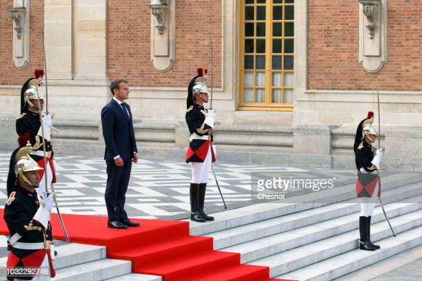 French President Emmanuel Macron waits for Japan's Crown Prince Naruhito prior to their meeting at the Chateau de Versailles on September 12 2018 in...