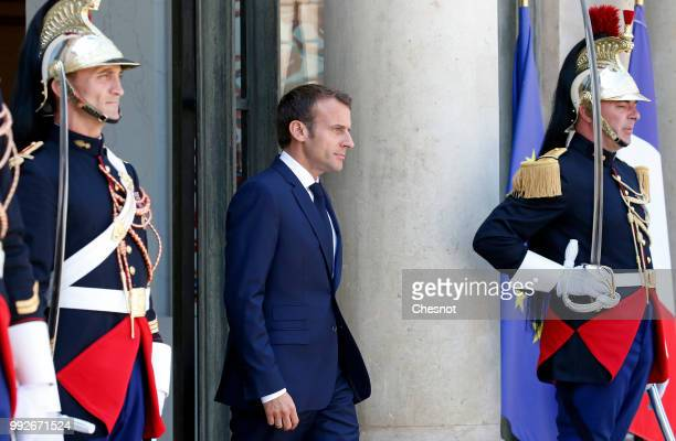 French President Emmanuel Macron waits for Qatar's Emir Sheik Tamim bin Hamad alThani prior to a meeting at the Elysee Presidential Palace on July 06...