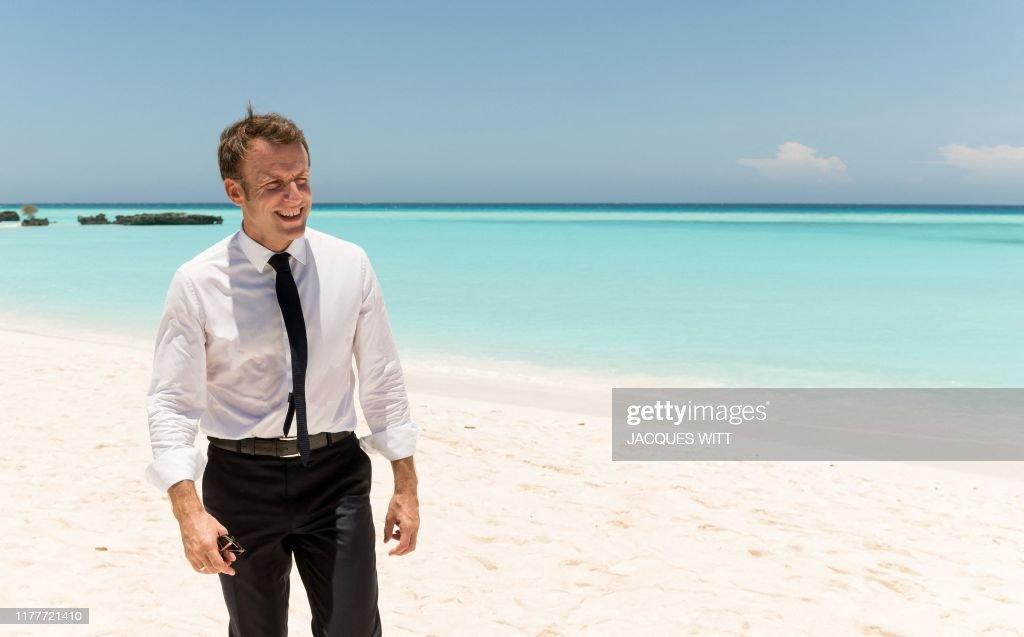 Topshot French President Emmanuel Macron Walks Along The Beach News Photo Getty Images