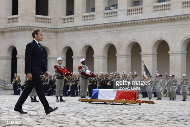 French President Emmanuel Macron walks by the coffin during a national memorial service for Hubert Germain - the last surviving Liberation companion...