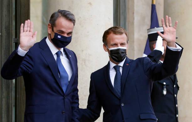 FRA: French President Emmanuel Macron Hosts Greece's Prime Minister Kyriakos Mitsotakis At Elysee Palace