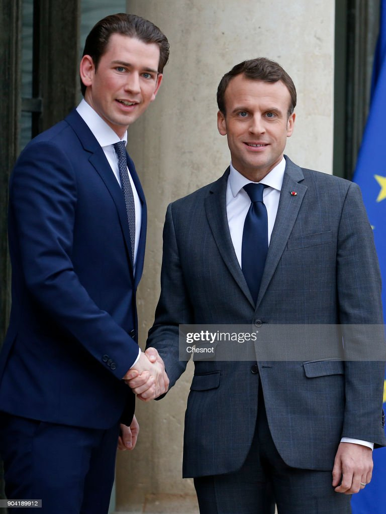 French President Emmanuel Macron Receives Sebastian Kurz, Austria's Chancellor At ELysee Palace In Paris