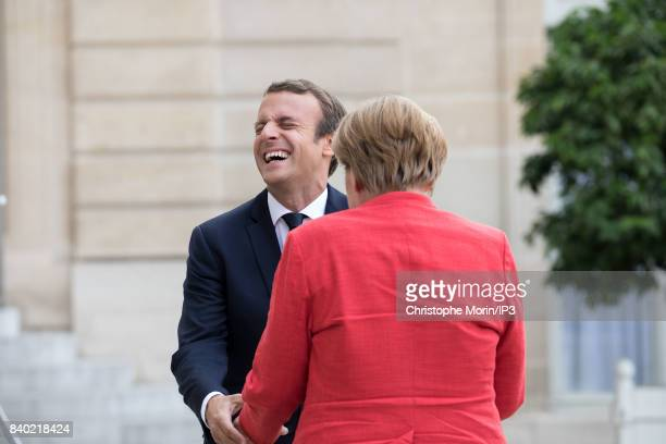 French President Emmanuel Macron welcomes Chancelor of Germany Angela Merkel at the Elysee Palace on August 28 2017 in Paris France This meeting...