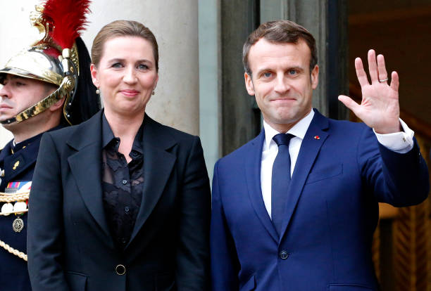 FRA: French President Emmanuel Macron Receives Danish Prime Minister Mette Frederiksen At Elysee Place In Paris