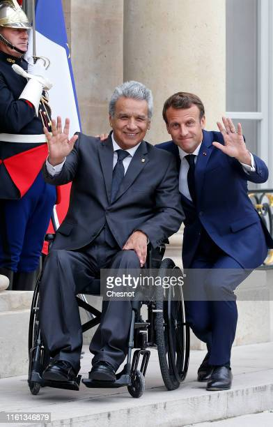 French President Emmanuel Macron welcomes Ecuadorean President Lenin Moreno prior to their meeting at the Elysee Presidential Palace on July 11 2019...