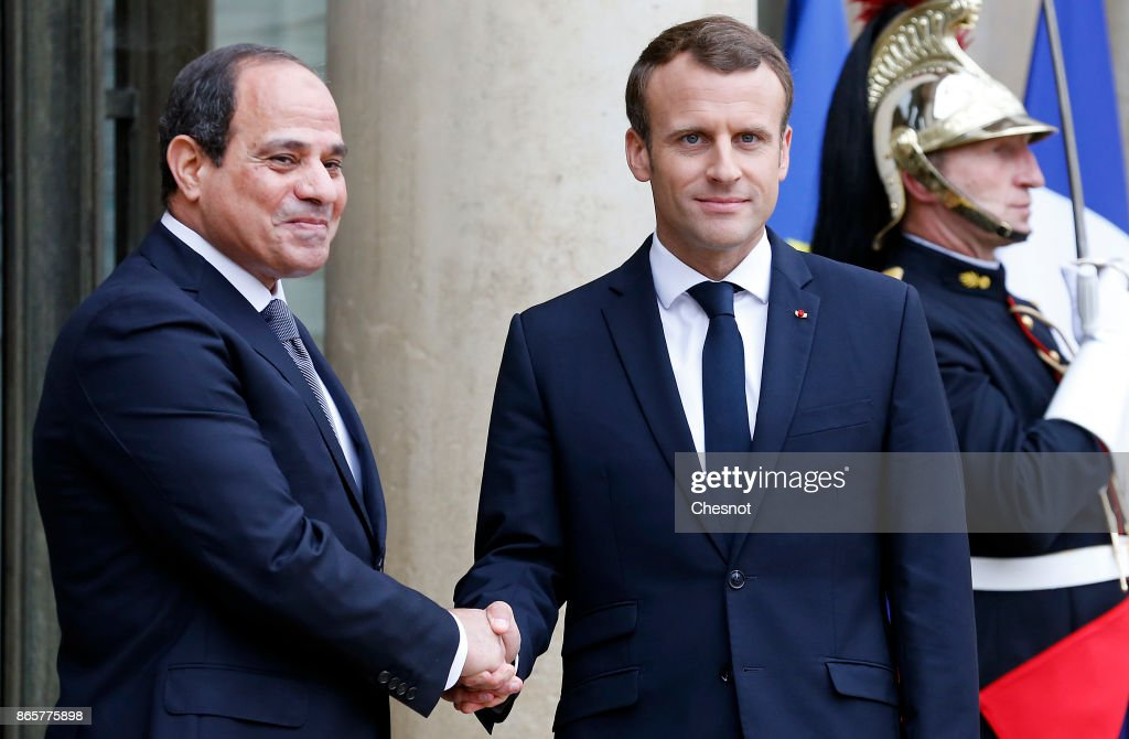 French President Emmanuel Macron Receives Egyptian President Abdel Fattah el-Sisi At Elysee Palace