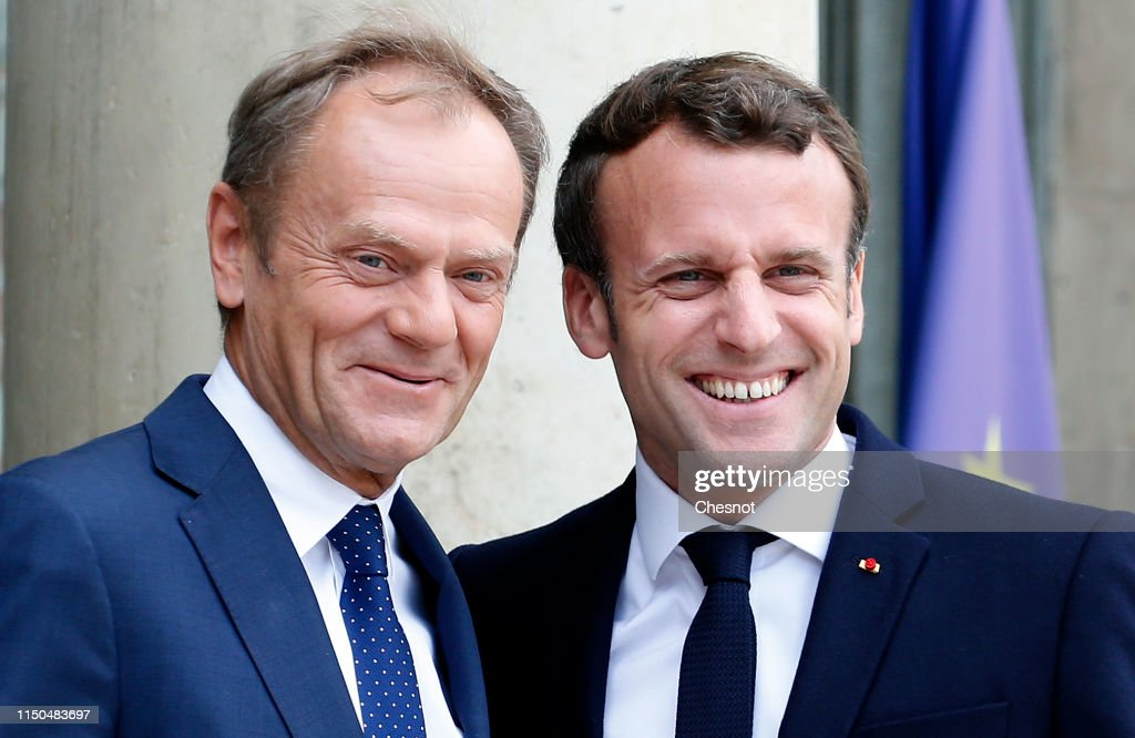 FRA: French President Emmanuel Macron Receives Donald Tusk, President Of The European Union (EU) At Elysee Palace