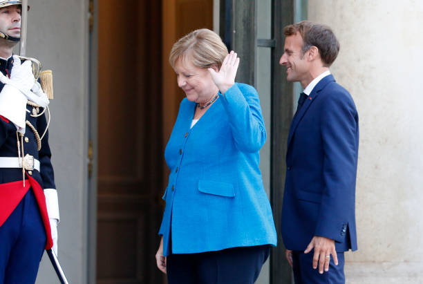 FRA: French President Emmanuel Macron Hosts German Chancellor Angela Merkel At Elysee Palace