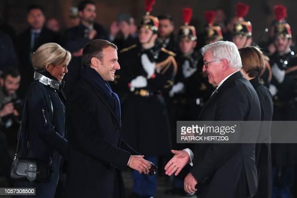 French President Emmanuel Macron welcomes German President Frank-Walter Steinmeier past his wife Brigitte Macron in Strasbourg, eastern France,...