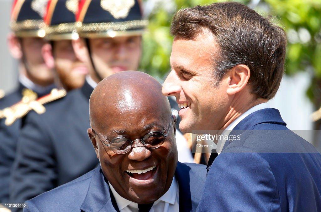 French President Emmanuel Macron Receives Ghana's President Nana Akufo-Addo At Elysee Palace : News Photo