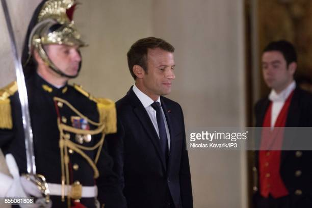French President Emmanuel Macron welcomes his guests for a State dinner offered in honor of Lebanese President Michel Aoun at the Elysee Palace on...