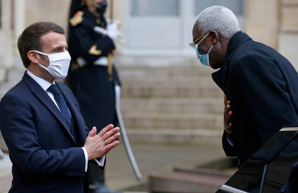 FRA: French President Emmanuel Macron Receives Bah N'Daw, Mali's Transitional President At Elysee Palace