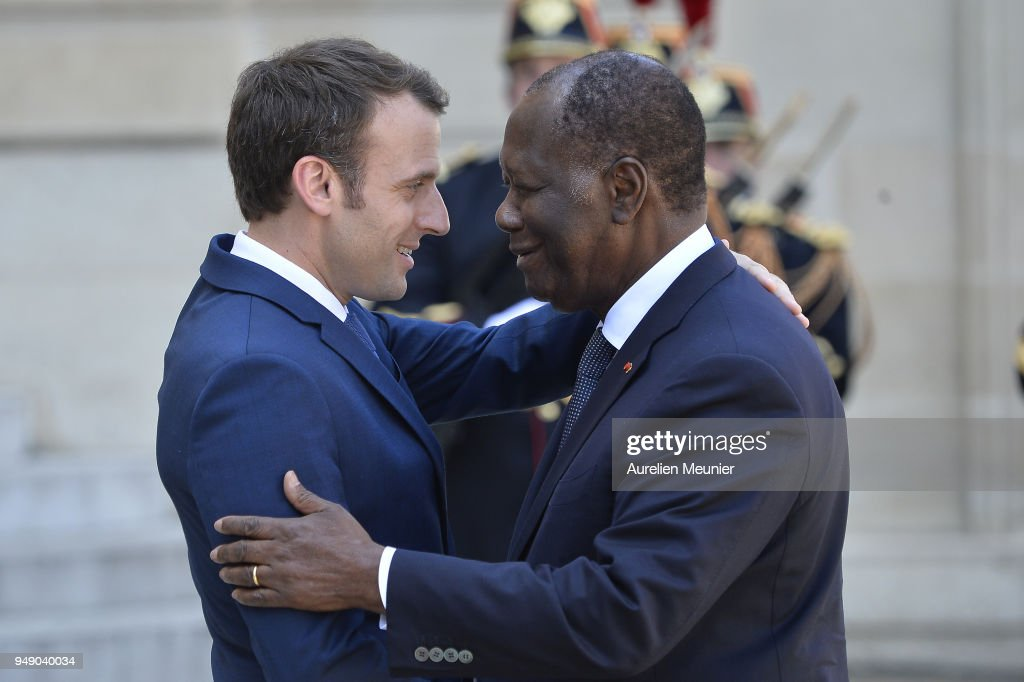 French President Emmanuel Macron Receives Ivory Coast President Alassane Ouattara At Elysee Palace In Paris