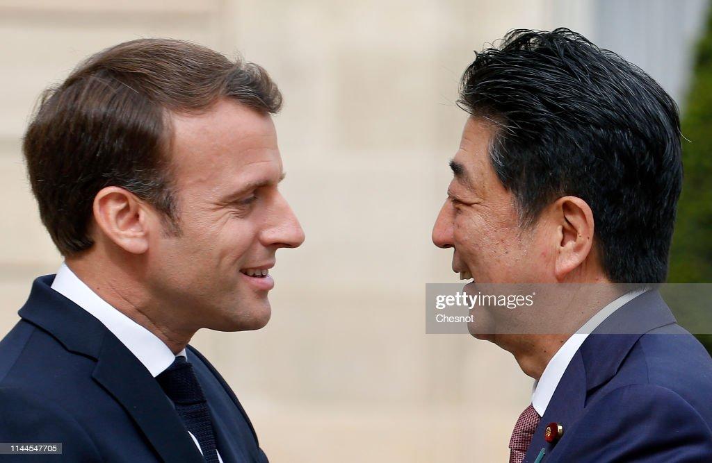 FRA: French President Emmanuel receives Japanese Prime Minister Shinzo Abe