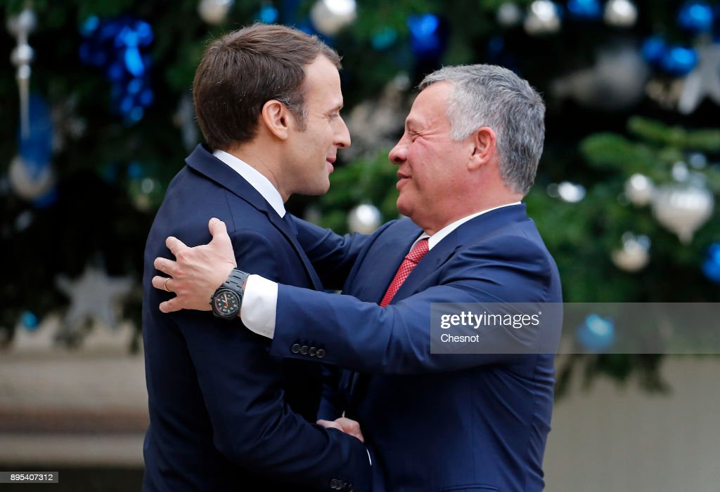 French President Emmanuel Macron Receives King Abdullah II Of Jordan At Elysee Palace