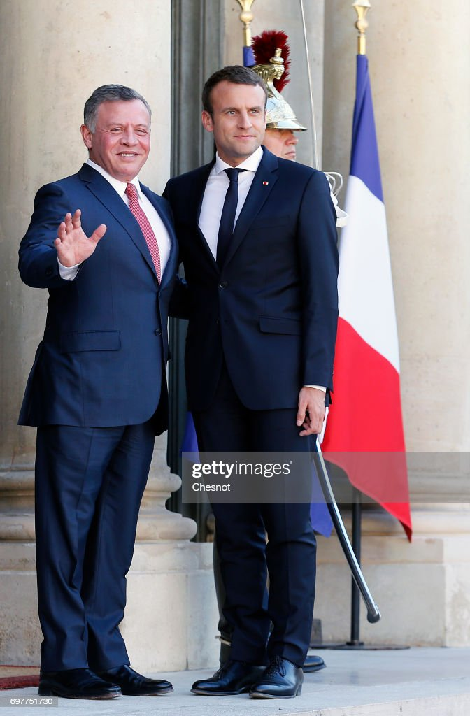 French President Emmanuel Macron welcomes King Abdallah II of Jordan prior to a meeting at the Elysee Presidential Palace on June 19 in Paris, France. Abdallah II of Jordan is on an official visit to France.