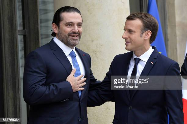 French President Emmanuel Macron welcomes Lebanese Prime Minister Saad Hariri at Elysee Palace on November 18 2017 in Paris France Saad Hariri...