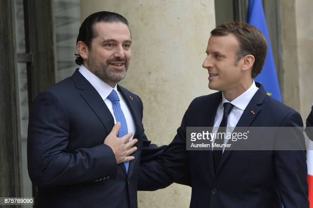 French President Emmanuel Macron welcomes Lebanese Prime Minister Saad Hariri at Elysee Palace on November 18 2017 in Paris France Saad Hariri...