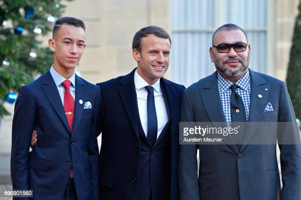 French President Emmanuel Macron welcomes Mohammed VI of Morocco and Moulay Hassan Crown Prince of Morocco as the arrive for a meeting for the One...