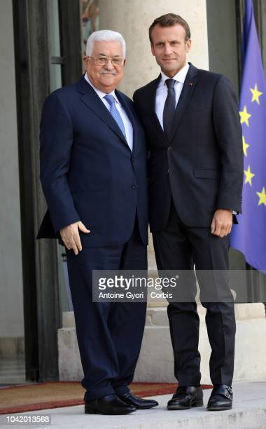 Mahmoud Abbas prior to their meeting at the Elysee Presidential Palace on September 21 2018 in Paris France Abbas meets Macron in preparation for a...
