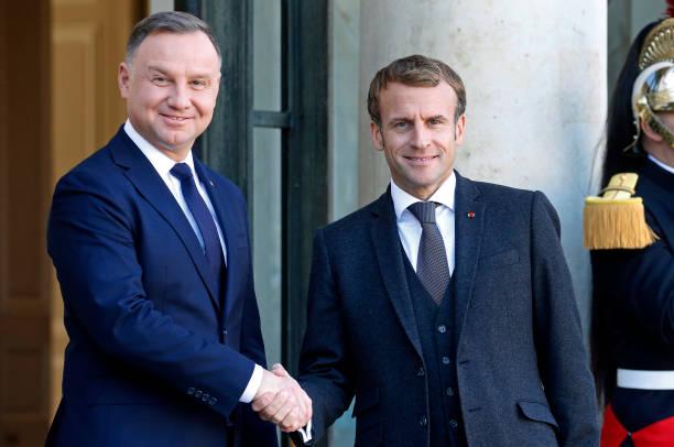 FRA: French President Emmanuel Macron  Hosts Polish President Andrzej Duda At Elysee Palace
