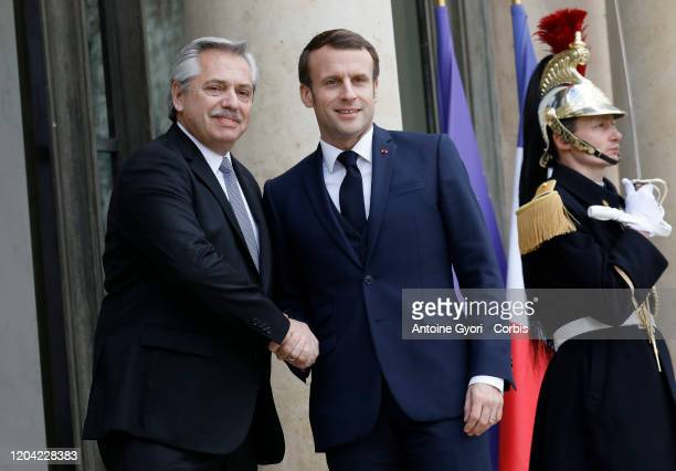French President Emmanuel Macron welcomes President of Argentina Alberto Fernandez at Élysée Palace on February 5 2020 in Paris France The...