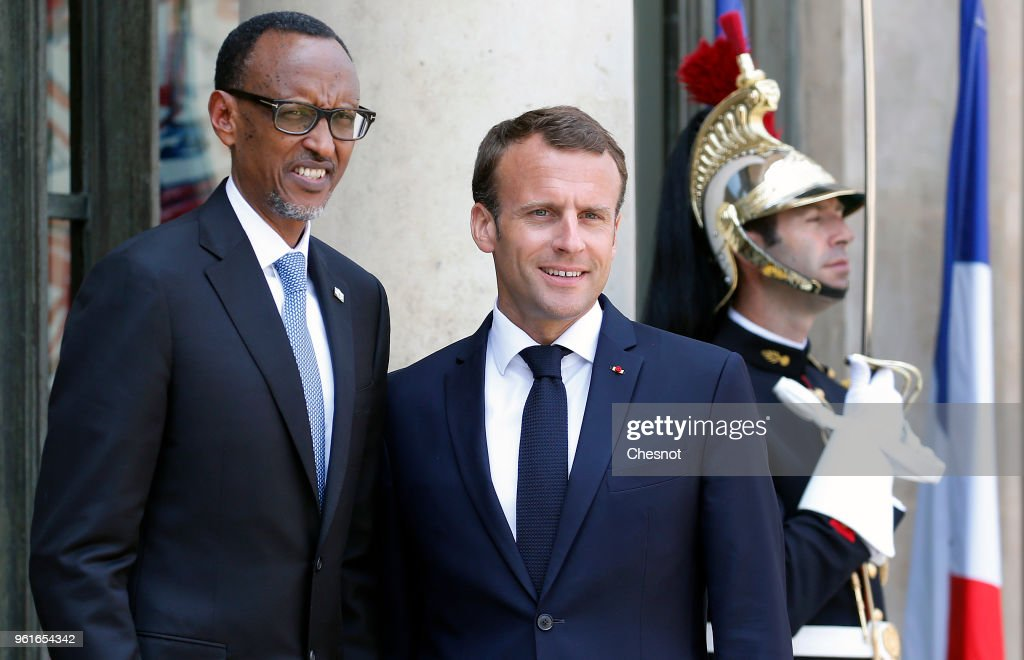 French President Emmanuel Macron Receives President of Rwanda Paul Kagame At ELysee Palace In Paris