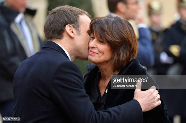 French President Emmanuel Macron welcomes President of Switzerland Doris Leuthard as she arrives for a meeting for the One Planet Summit's...