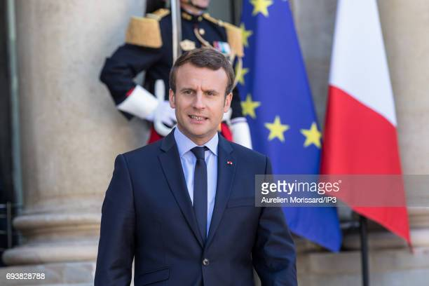 French President Emmanuel Macron welcomes President of the Republic of Peru Pedro Pablo Kuczynski for a meeting at the Elysee Palace on June 8 2017...